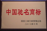 """公司商标荣获""""中国驰名商标""""称号(2010年)"""